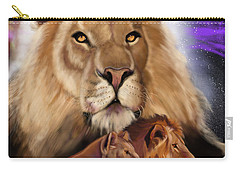 Carry-all Pouch featuring the painting Third In The Big Cat Series - Lion by Thomas J Herring