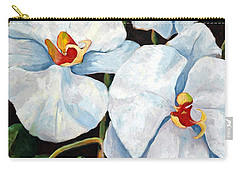 Big White Orchids - Floral Art By Betty Cummings Carry-all Pouch by Sharon Cummings