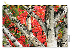 Carry-all Pouch featuring the photograph Birch Eclipsing Maple by Doris Potter