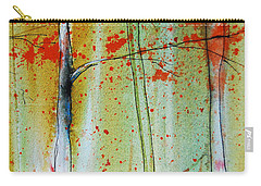 Carry-all Pouch featuring the painting Birch Tree Forest Closeup by Jani Freimann