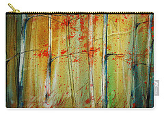 Carry-all Pouch featuring the painting Birch Tree Forest I by Jani Freimann