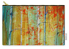 Carry-all Pouch featuring the painting Birch Tree Forest by Jani Freimann