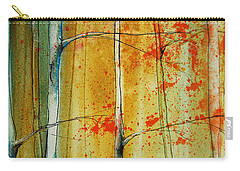 Carry-all Pouch featuring the painting Birch Tree Forest - Left by Jani Freimann