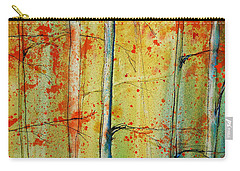 Carry-all Pouch featuring the painting Birch Tree Forest - Right by Jani Freimann