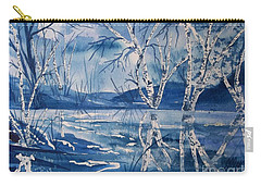 Birches In Blue Carry-all Pouch by Ellen Levinson