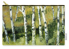 Carry-all Pouch featuring the painting Birches On A Hill by Michelle Calkins
