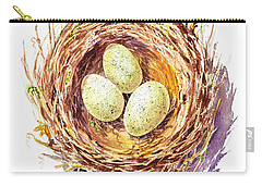 Bird Nest A Happy Trio Carry-all Pouch by Irina Sztukowski