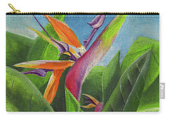 Carry-all Pouch featuring the painting Hawaiian Bird Of Paradise by Thomas J Herring