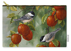 Bird Painting - Apple Harvest Chickadees Carry-all Pouch by Crista Forest
