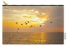 Birds In Lake Erie Sunset Carry-all Pouch