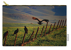 Carry-all Pouch featuring the photograph Birds On A Fence by Matt Harang