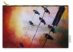 Carry-all Pouch featuring the photograph Birds On A Wire by Micki Findlay