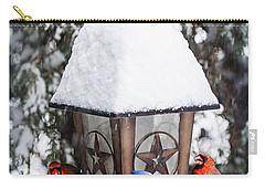 Birds On Bird Feeder In Winter Carry-all Pouch