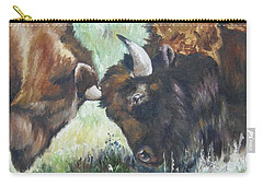 Carry-all Pouch featuring the painting Bison Brawl by Lori Brackett