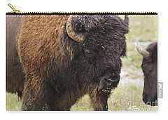 Carry-all Pouch featuring the photograph Bison From Yellowstone by Belinda Greb