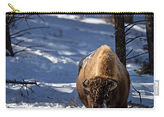 Carry-all Pouch featuring the photograph Bison In Winter by Michael Chatt