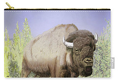 Carry-all Pouch featuring the digital art Bison On The Range by Thomas J Herring