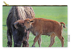 Carry-all Pouch featuring the photograph Bison With Young Calf by Bill Gabbert