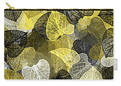 Black And Gold Leaf Pattern Carry-all Pouch