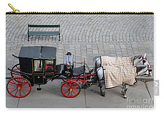 Carry-all Pouch featuring the photograph Black And Red Horse Carriage - Vienna Austria  by Imran Ahmed