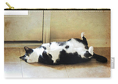 Carry-all Pouch featuring the photograph Black And White Cat Reclining by Jayne Wilson