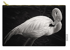 Black And White Flamingo Carry-all Pouch