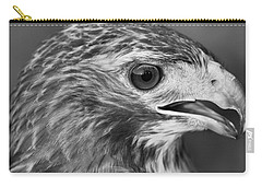 Black And White Hawk Portrait Carry-all Pouch by Dan Sproul