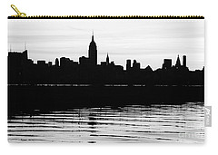 Carry-all Pouch featuring the photograph Black And White Nyc Morning Reflections by Lilliana Mendez