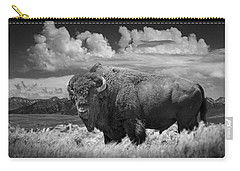 Black And White Photograph Of An American Buffalo Carry-all Pouch