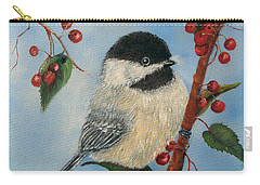 Black Capped Chickadee And Winterberries Carry-all Pouch