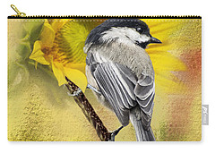 Black Capped Chickadee Checking Out The Sunflowers Carry-all Pouch by Diane Schuster