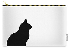 Black Cat Silhouette On A White Background Carry-all Pouch