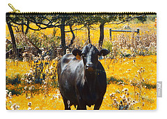 Black Cow And Field Flowers Carry-all Pouch