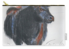Black Cow Drawing Carry-all Pouch