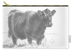 Black Cow Pencil Sketch Carry-all Pouch