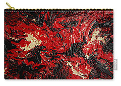 Black Cracks With Red Carry-all Pouch