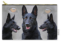 Black German Shepherd Dog Collage Carry-all Pouch by Sandy Keeton