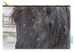 Black Horse In Snow Carry-all Pouch