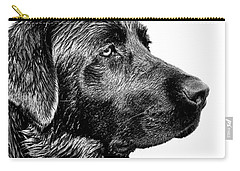 Black Labrador Retriever Dog Monochrome Carry-all Pouch by Jennie Marie Schell