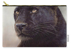 Black Leopard Painting Carry-all Pouch by Rachel Stribbling