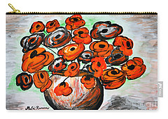 Carry-all Pouch featuring the painting Black Poppies by Ramona Matei
