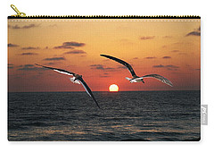 Carry-all Pouch featuring the photograph Black Skimmers At Sunset by Tom Janca