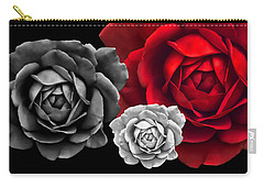 Black White Red Roses Abstract Carry-all Pouch by Jennie Marie Schell