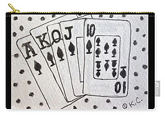 Blackjack Black And White Carry-all Pouch by Kathy Marrs Chandler
