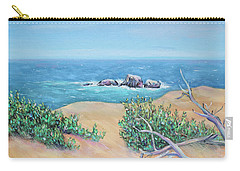 Carry-all Pouch featuring the painting Bleached Cedar And Ocean Rocks by Asha Carolyn Young