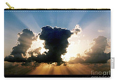 Carry-all Pouch featuring the photograph Blue And Gold Rays Sunset In The Gulf Of Mexico Off The Coast Of Louisiana by Michael Hoard