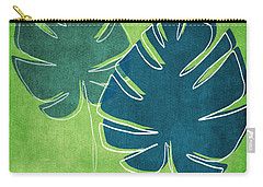 Blue And Green Palm Leaves Carry-all Pouch by Linda Woods