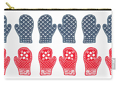 Blue And Red Mitten Pattern Carry-all Pouch