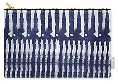 Blue And White Shibori Design Carry-all Pouch by Linda Woods