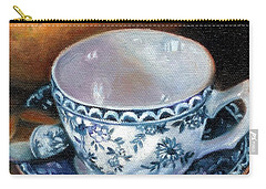 Blue And White Teacup With Spoon Carry-all Pouch by Marlene Book